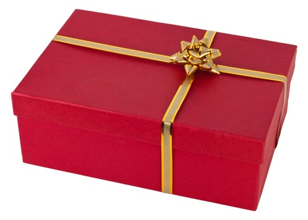 Rad gift with the golden ribbon. isolated on white. Stock Photo - 9818873