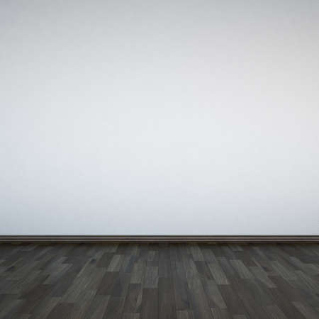 Blank white walls and wooden floor photo