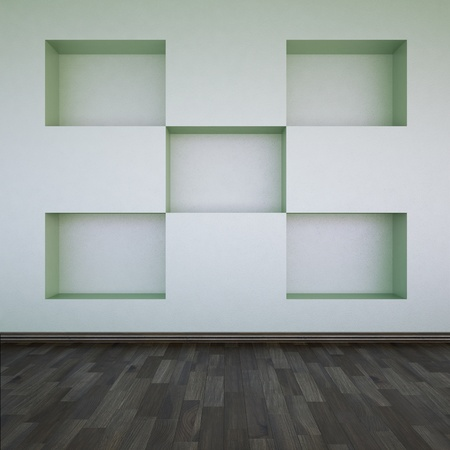 A wall with empty shelves photo
