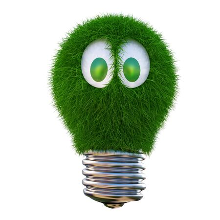 bulb growing out of it with grass. 3d character with funny eyes. isolated on white. Stock Photo - 9818875