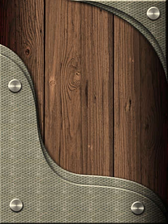 Wood background with metal inserts photo