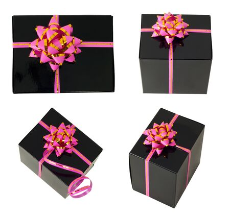 Four black gift tied with a pink ribbon and bow isolated on white photo