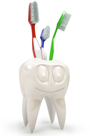 Toothbrush holder in the form of a tooth. isolated on white photo