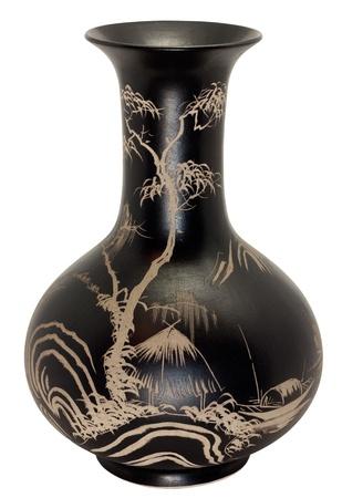 antique vase: decorative black vase. isolated on white