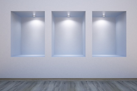 Empty shelves in a wall-honored spotlights Stock Photo - 9827091