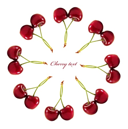 range of ripe cherries to your design. isolated on a white background photo