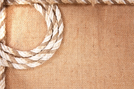 burlap texture: frame of the rope and burlap Stock Photo