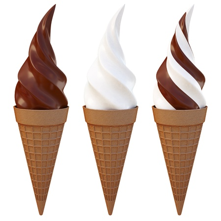 three kinds of ice-cream cone isolated on white background