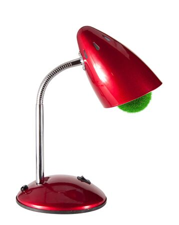 fixture: red table lamp with a cartridge made of grass isolated on white background