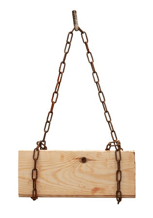 wooden sign hanging on the chains isolated on a white background photo