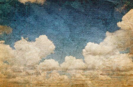 burlap: old picture of clouds on the fabric. vintage background Stock Photo