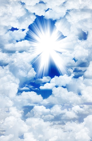 spiritual light: Divine light through the clouds Stock Photo