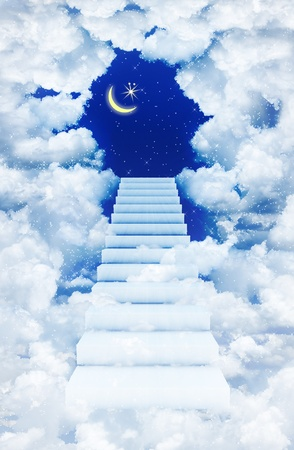 staircase at the starry sky photo