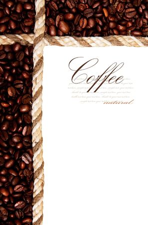 frame from coffee beans isolated on white background photo