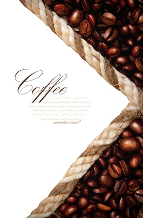 beverage menu: frame from coffee beans isolated on white background