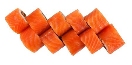 nigiri: Japanese food. Rolls isolated on a white background