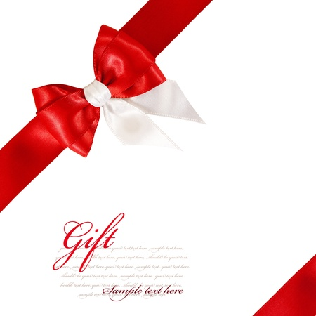 Gift red bow isolated on white background photo