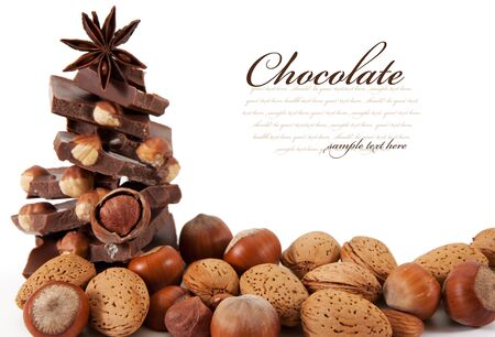praline: Chocolate with nuts is isolated on a white background Stock Photo