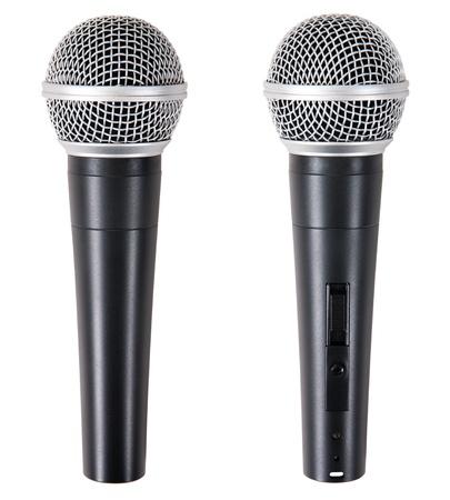 microfono radio: dos micr�fono aislado sobre fondo blanco