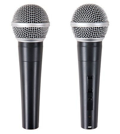 two microphone isolated on white background photo