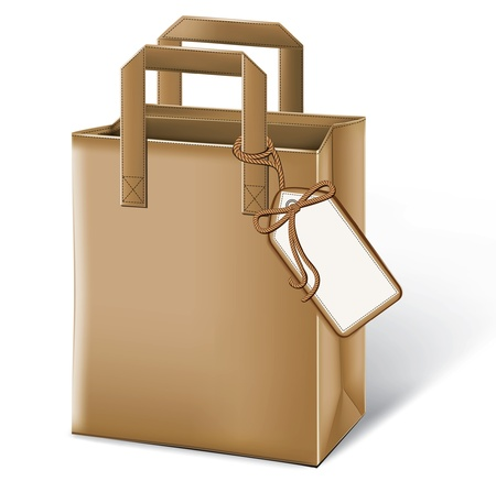 Paper bag with a label Vector