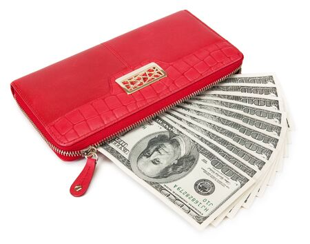 notecase: Red purse with dollars. isolated on white