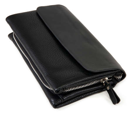 notecase: black purse with dollars. isolated on white