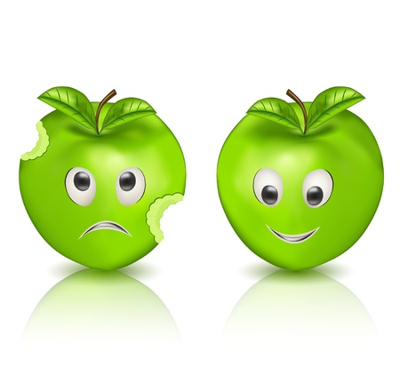 Two green apples - Charactervector Vector