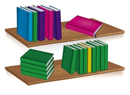 wooden shelf: Collection of books standing on a shelfvector