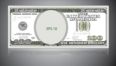 One hundred dollars. EPS 10 Иллюстрация