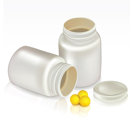 pills bottle: White plastic container with pills and vitamins