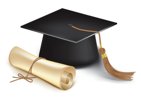credential: Graduation cap and diploma. Vector Illustration