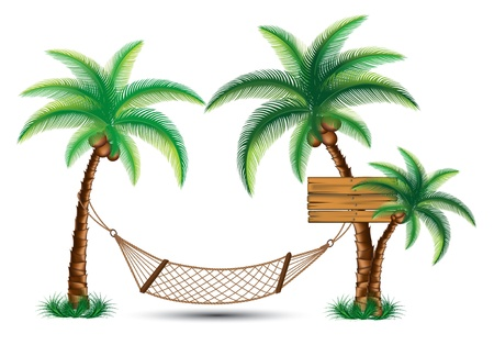 hammock under the palm trees vector Vector