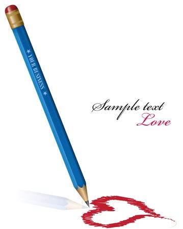 Vector Pencil drawing heart. eps 10