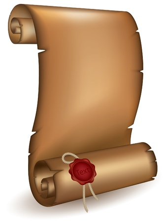 Old scroll with a wet seal mesh Vector