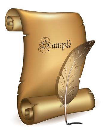 rękopis: Stary papier z wektora piór Ilustracja