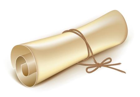 vellum: scroll vecchio legato con una corda sul bowvector