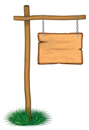 old wooden board hanging on chainseps 10 Vector