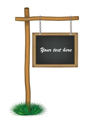 old wooden board hanging on chains eps 10 Vector
