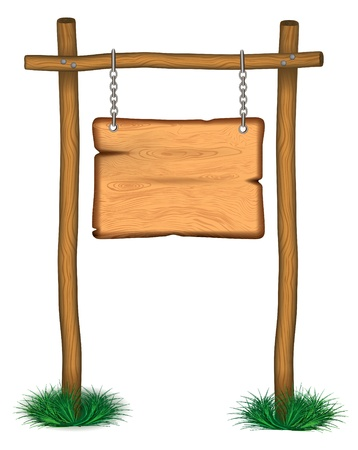 old wooden billboard on the grass eps 10 Vector
