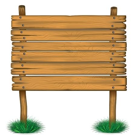 wooden post: de madera vieja valla publicitaria en la hierba eps 10 Vectores