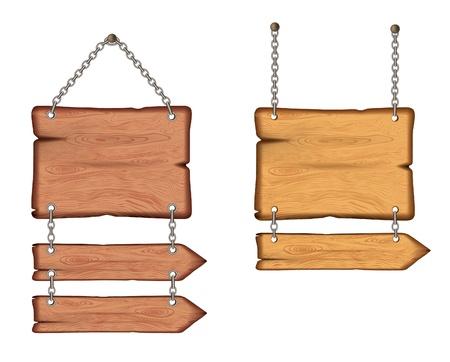 wooden post: cartel de madera en las cadenas. vector