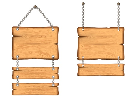 wooden sign on the chains.  vector Vector