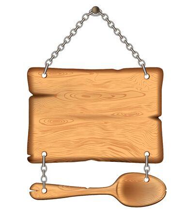 Il segno antico di legno con un cucchiaio. pesa sul eps10 catene