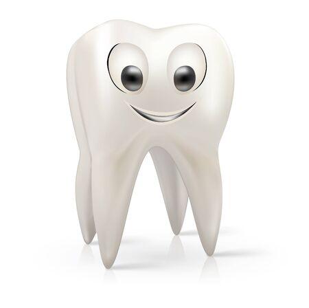 dental symbol: White tooth character eps10 Illustration