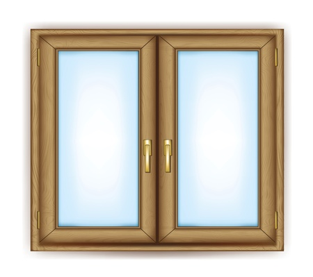 Closed window with gold handles vector