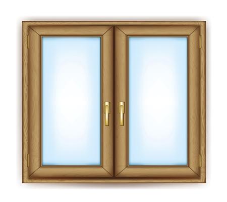 Fenêtre fermée avec des poignées d'or vecteur