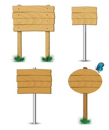 set of old wooden billboard on the grass eps 10 Vector