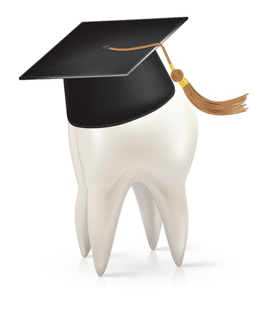 dental symbol: White tooth with a cap of the graduate Illustration