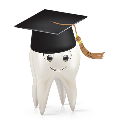 White tooth with a cap of the graduate Vector